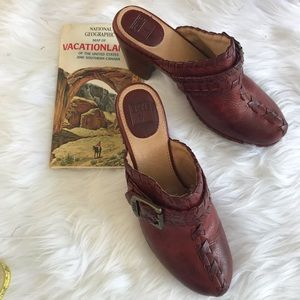 Frye Candy Lace Slip On Heels All Leather SZ 7.5M